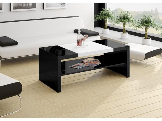 Konfereční stolek - dřevěný Duo (černá lesk+bílá lesk)