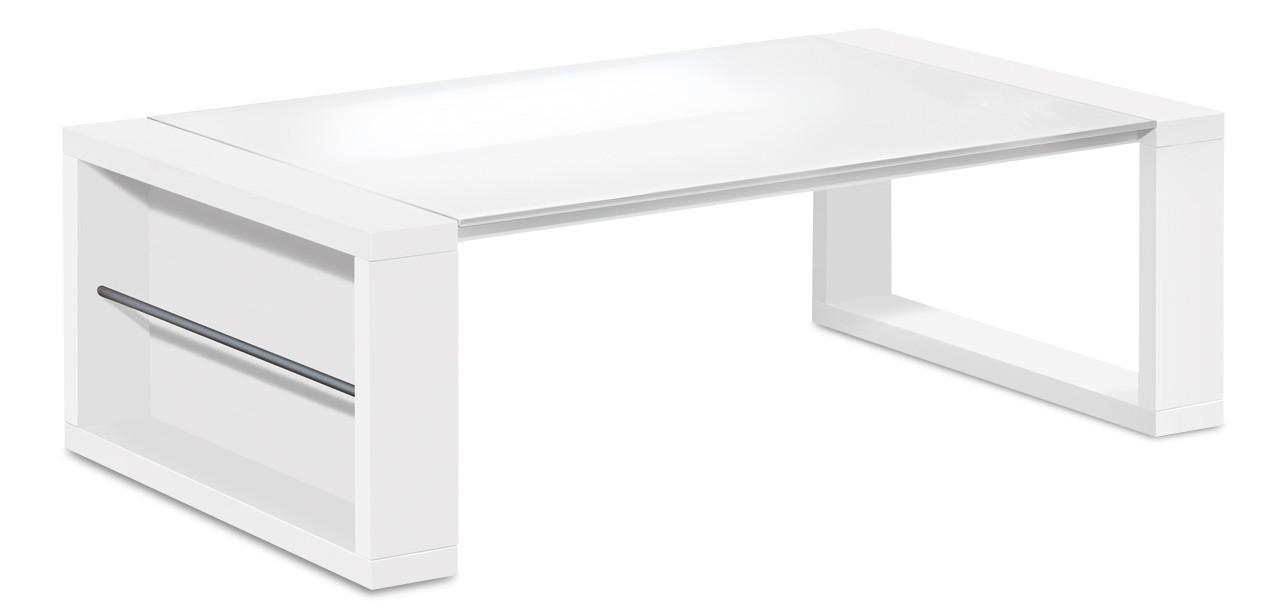 Konfereční stolek - dřevěný Game - konferenční stolek (bílá/sklo čistě bílé)