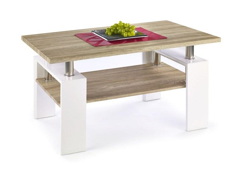 Konfereční stolek - dřevěný Konferenční stolek Diana (deska a police:dub sonoma/nohy:bílá)