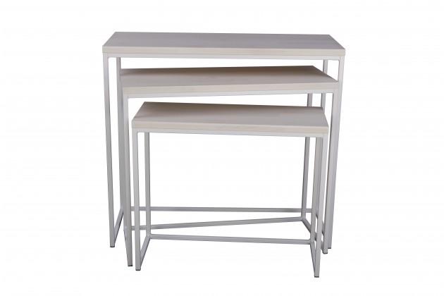Konfereční stolek - dřevěný Konferenční stolek Giewont - set 3 kusů (bílá/javor)