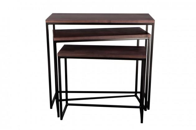 Konfereční stolek - dřevěný Konferenční stolek Giewont - set 3 kusů (černá/javor)