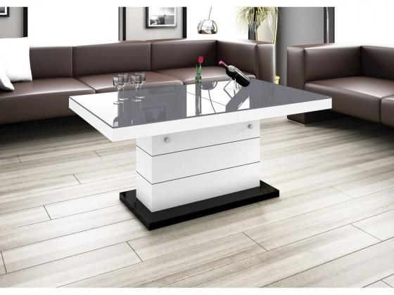 Konfereční stolek - dřevěný Konferenční stolek Matera Lux (šedá lesk+bílá lesk)