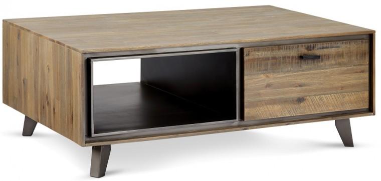 Konfereční stolek - dřevěný Konferenční stolek Mety (1 zásuvka, dřevo, hnědá)