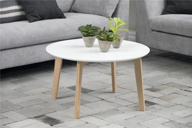 Konfereční stolek - dřevěný Konferenční stolek Molina (bílá deska/jasan nohy)