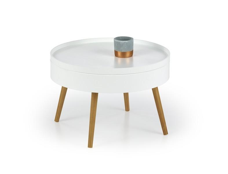 Konfereční stolek - dřevěný Konferenční stolek Starlet (bílá, dub sonoma)