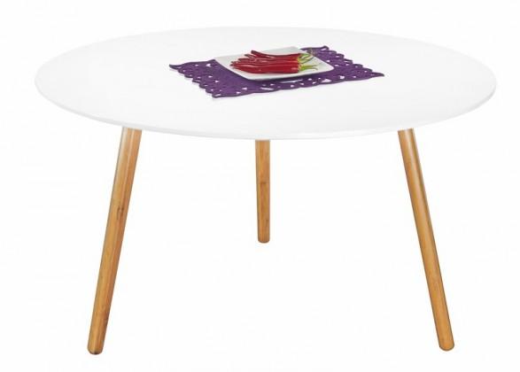 Konfereční stolek - dřevěný Konferenční stolek Winter - bílý, dubové nohy (dub/bílá)