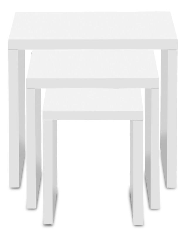 Konfereční stolek - dřevěný Linea - konferenční stolek, 3ks v sadě (bílá)