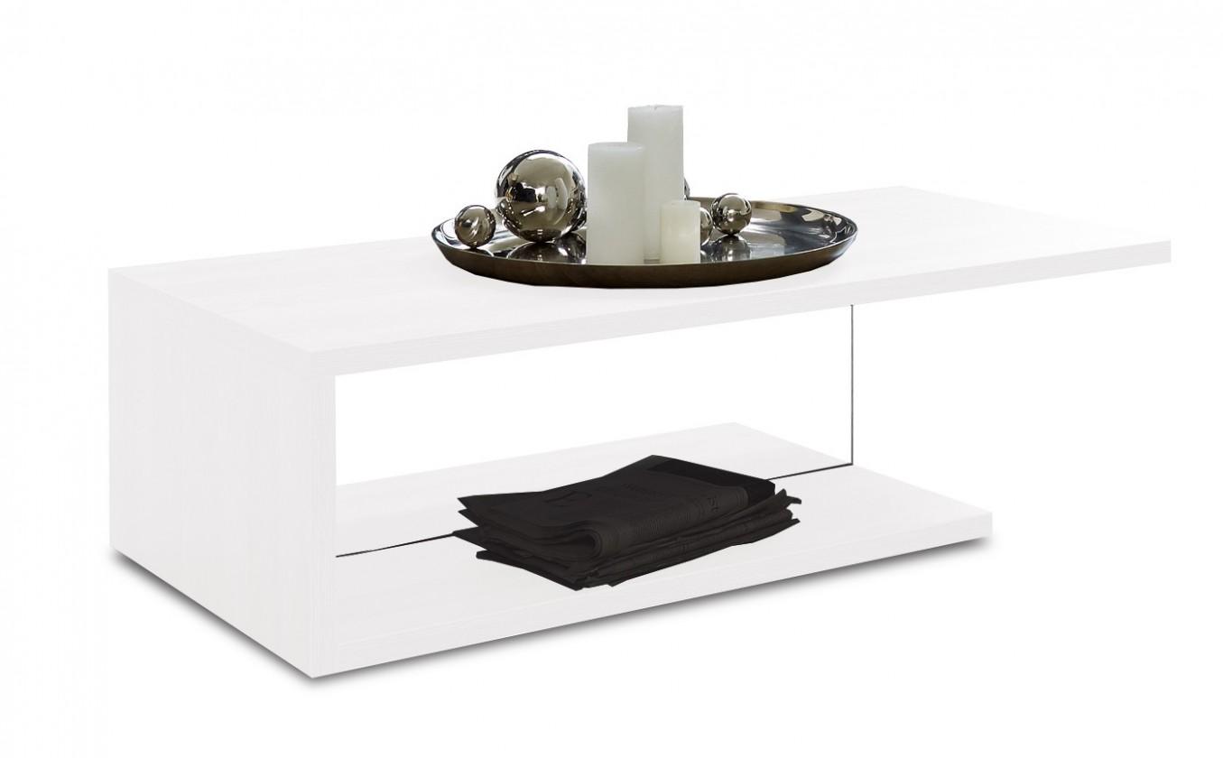 Konfereční stolek - dřevěný Linea - Konferenční stolek (bílá s čirým sklem)