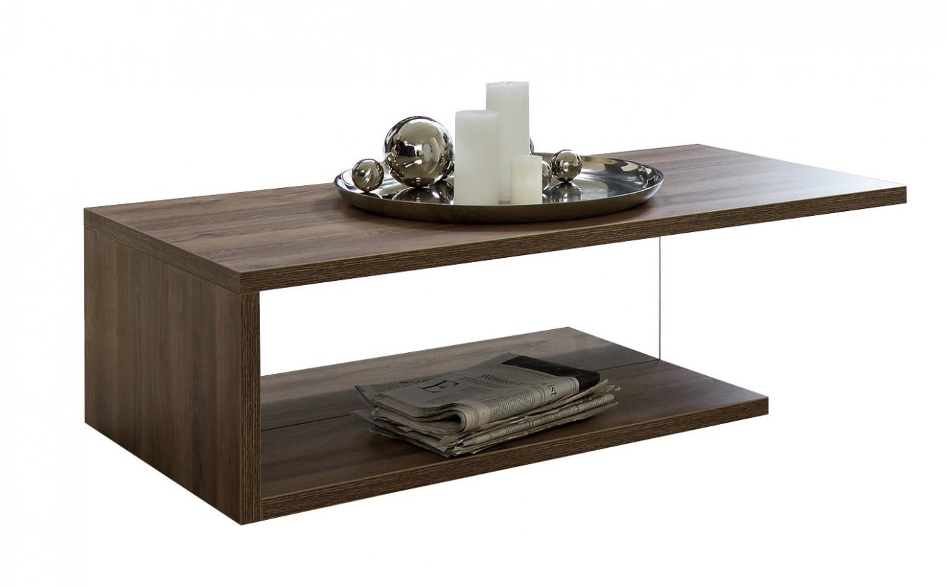 Konfereční stolek - dřevěný Linea - Konferenční stolek (dub tmavý HN s čirým sklem)