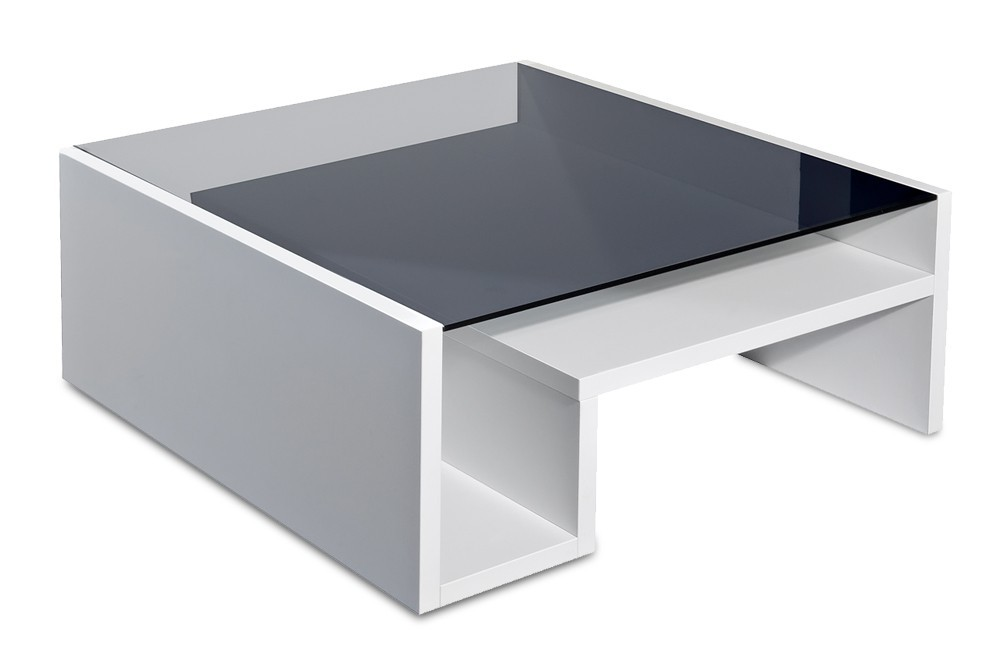 Konfereční stolek - dřevěný Linea - konferenční stolek se sklem (bílá)