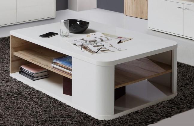 Konfereční stolek - dřevěný Marlow - Konferenční stolek (bílá/bílá lesk/dub)