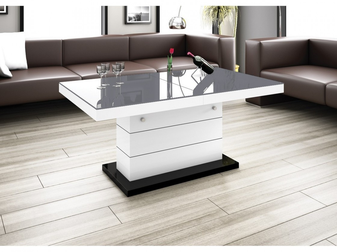 Konfereční stolek - dřevěný Matera Lux (šedá lesk+bílá lesk)
