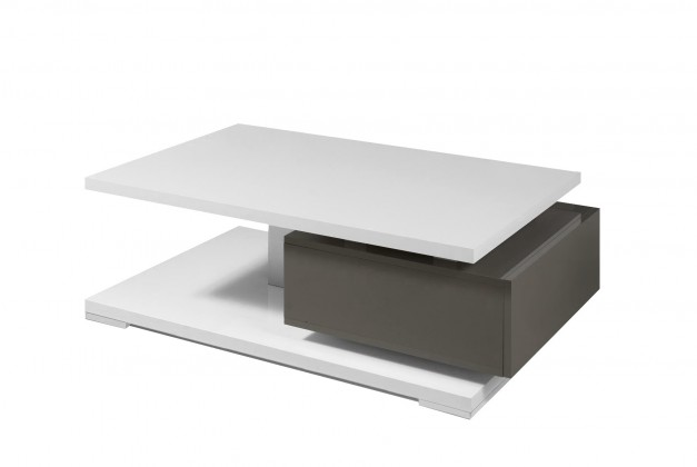 Konfereční stolek - dřevěný Rimini - Konferenční stolek (tmavě šedá/bílá)
