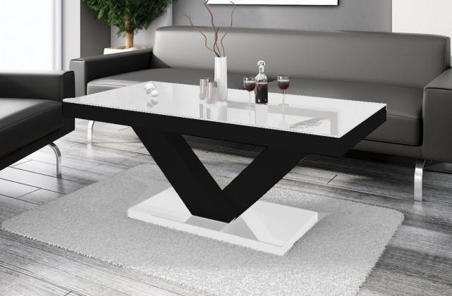 Konfereční stolek - dřevěný Victoria mini (bílá lesk+černá lesk)