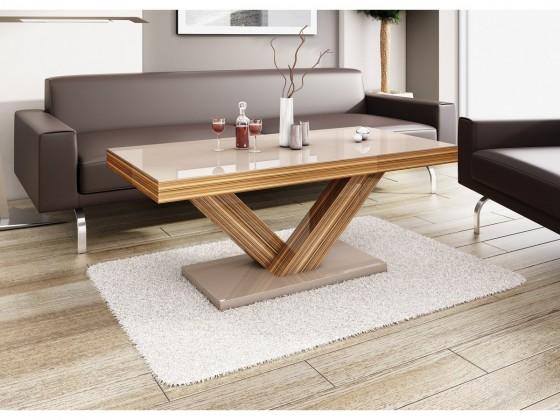 Konfereční stolek - dřevěný Victoria mini (cappucino lesk+sevilla lesk)