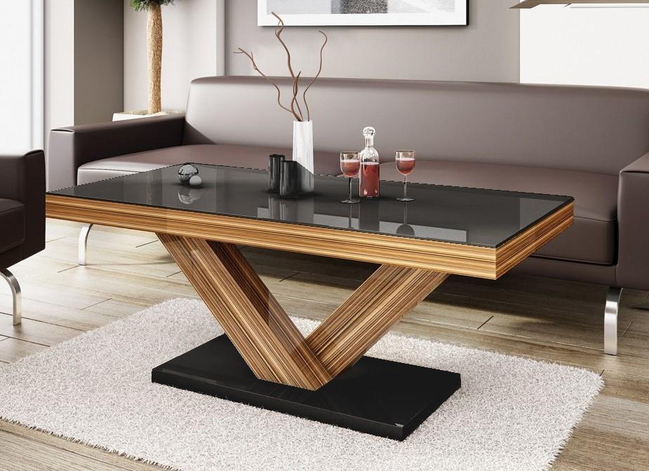 Konfereční stolek - dřevěný Victoria mini (černá lesk+sevilla lesk)