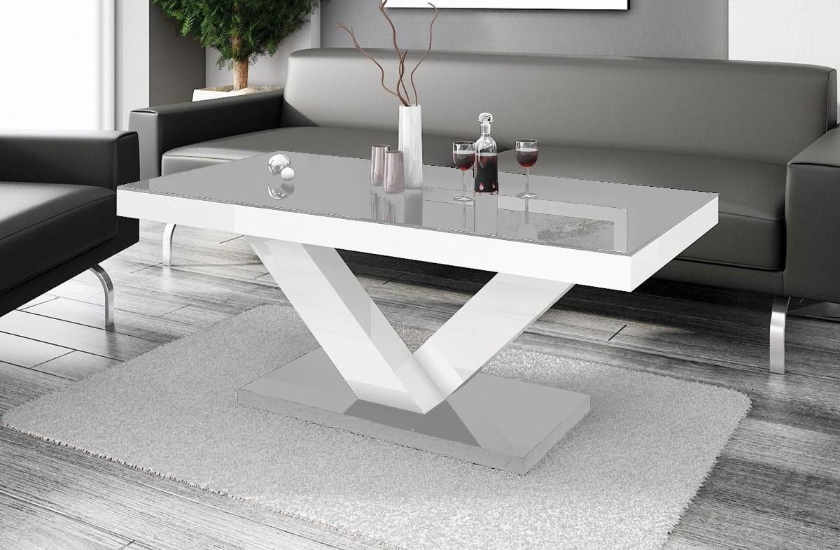 Konfereční stolek - dřevěný Victoria mini (šedá lesk+bílá lesk)