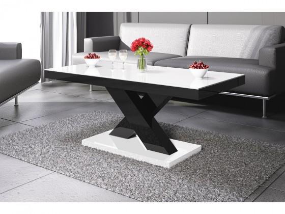 Konfereční stolek - dřevěný Xenon mini (bílá lesk+černá lesk)