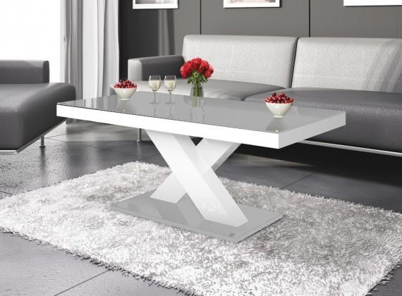 Konfereční stolek - dřevěný Xenon mini (šedá lesk+bílá lesk)