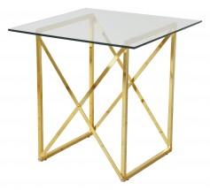 Konferenční stolek Cross - čtverec (lesklé sklo, mosazné nohy)