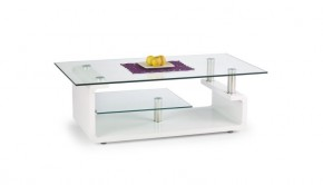 Konferenční stolek Cynthia (bílá / sklo)