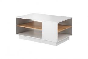 Konferenční stolek Duras (1 police, lamino, bílá/hnědá)