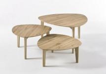 Konferenční stolek Freda - set 3 kusů (hnědá)