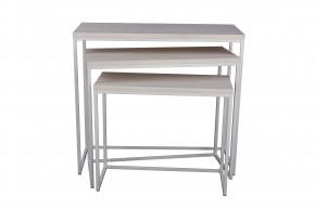 Konferenční stolek Giewont - set 3 kusů (bílá/javor)