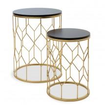 Konferenční stolek Golden - set 2 kusů (černá, zlatá)