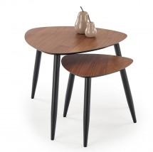Konferenční stolek Lenk - set 2 kusů (ořech, černá)