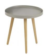 Konferenční stolek Malaga - kruhový, dřev. nohy (béžová, dřevo)