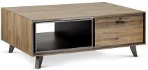Konferenční stolek Mety (1 zásuvka, dřevo, hnědá)