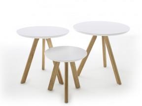 Konferenční stolek Modun - set 3 kusů (bílá)