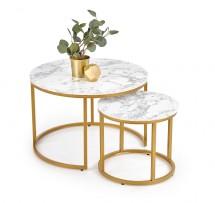Konferenční stolek Pola - set 2 kusů (mramor, zlatá)