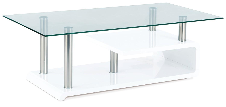 Konferenční stolek - skleněný AC 058 (bílá vysoký lesk/chrom)