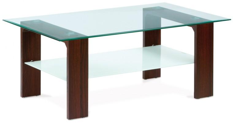 Konferenční stolek - skleněný AC 237 (ořech/čiré sklo)