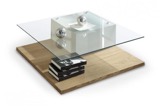 Konferenční stolek - skleněný Ancona(bílá/ dub sonoma)