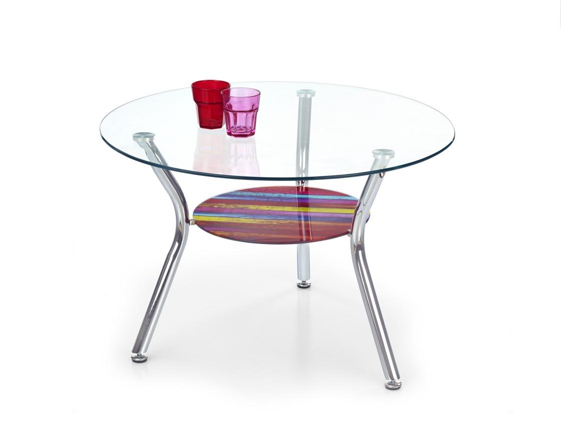 Konferenční stolek - skleněný Becky - Konferenční stolek (vícebarevný)