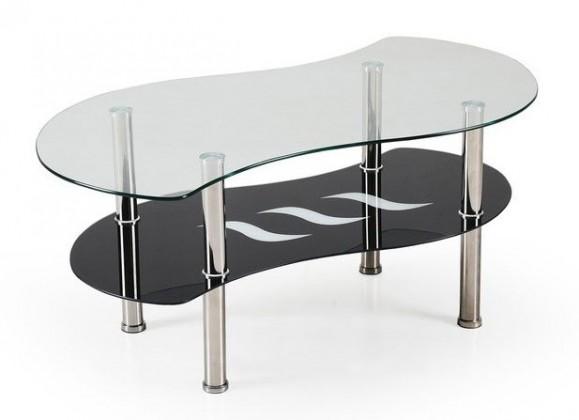Konferenční stolek - skleněný Catania(sklo/ černá police)