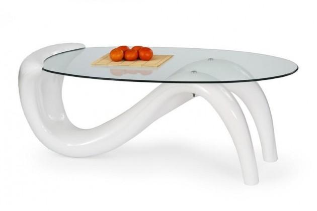 Konferenční stolek - skleněný Cortina (Bílá)
