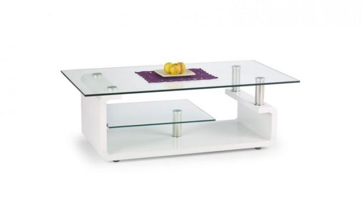 Konferenční stolek - skleněný Cynthia (bílá / sklo)