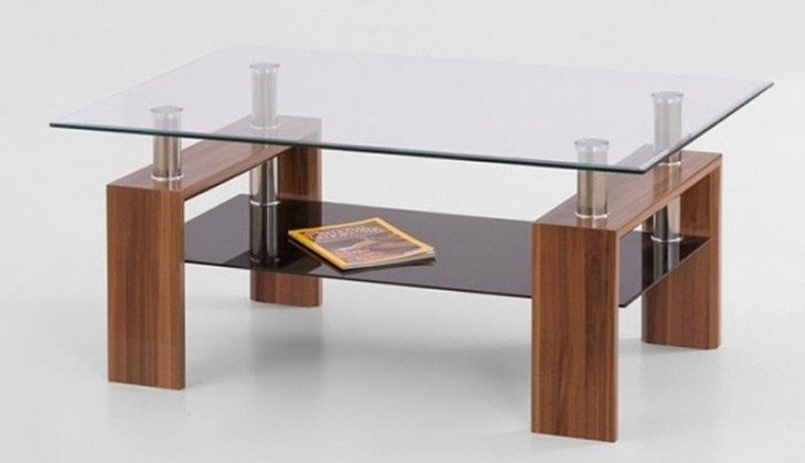 Konferenční stolek - skleněný Diana Max (Ořech)