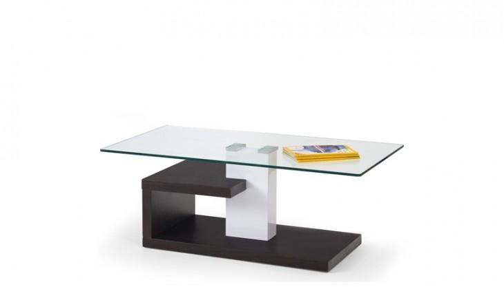 Konferenční stolek - skleněný Evelin (sklo/wenge)