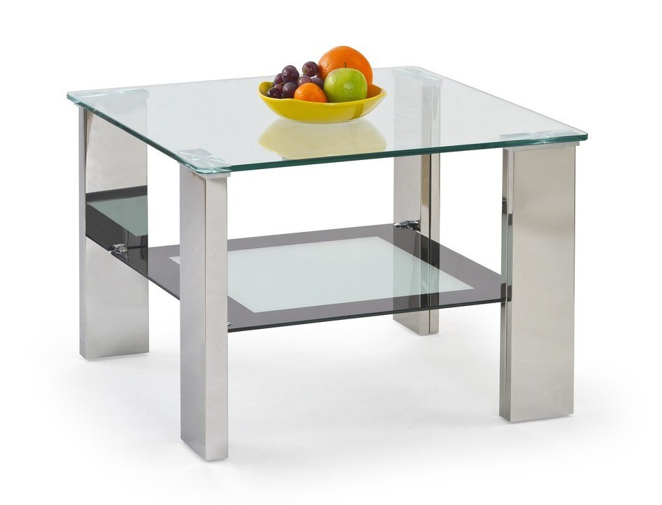 Konferenční stolek - skleněný Frida Kwadrat(mléčná/černá)