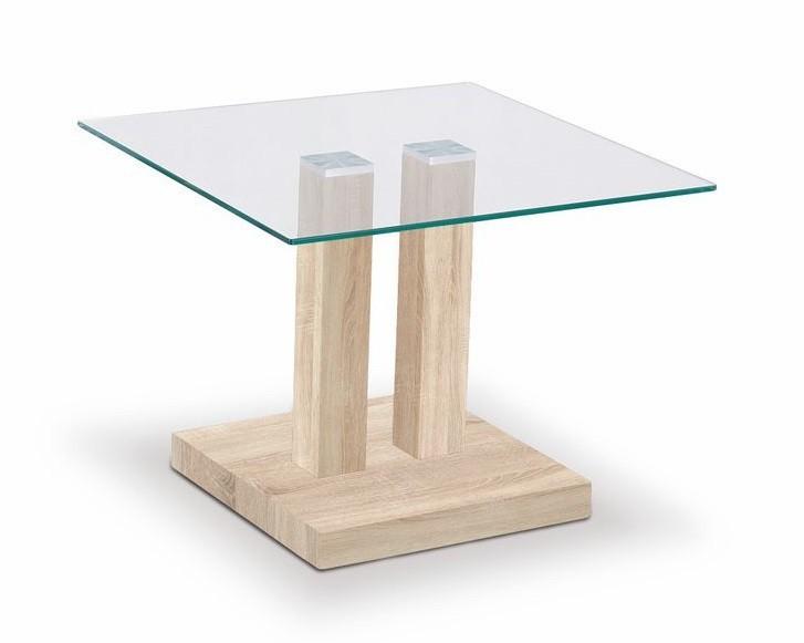Konferenční stolek - skleněný Gaya(dub sonoma)