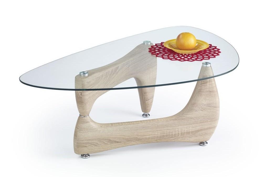 Konferenční stolek - skleněný Karen(dub sonoma)