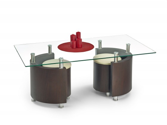 Konferenční stolek - skleněný Konferenční stolek Angel (wenge/krémová)