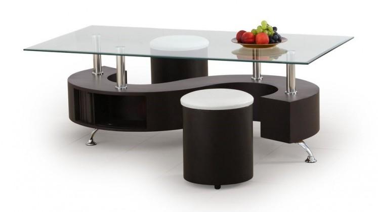 Konferenční stolek - skleněný Konferenční stolek Nina (wenge)
