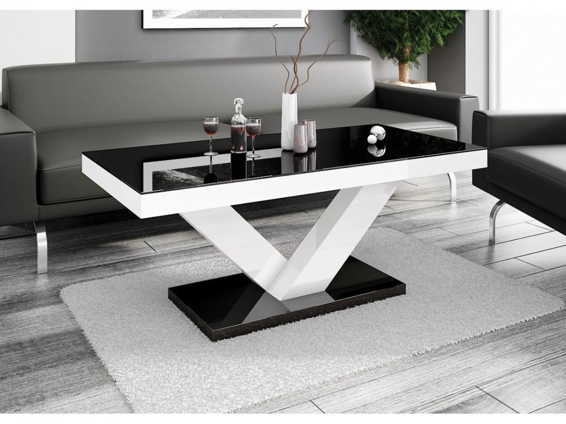 Konferenční stolek - skleněný Konferenční stolek Victoria mini (černá lesk+bílá lesk)