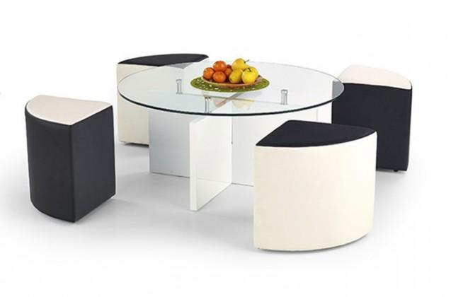 Konferenční stolek - skleněný Latoya (Bílá/Černo-bílá)